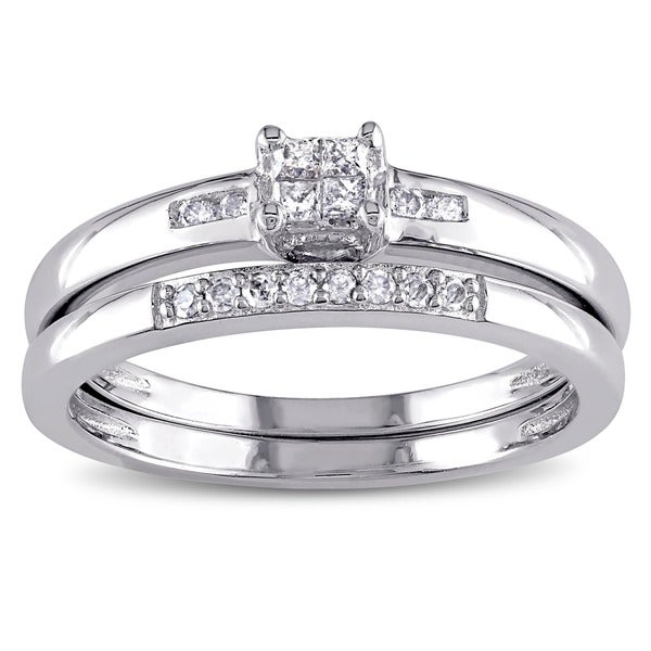 miadora sterling silver 16ct tdw princess cut diamond bridal ring set - Princess Cut Diamond Wedding Ring Sets