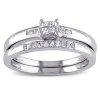 Miadora Sterling Silver 1/6ct TDW Princess-cut Diamond Bridal Ring Set