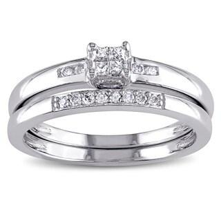 Miadora Sterling Silver 1/6ct TDW Princess-cut Diamond Bridal Ring Set
