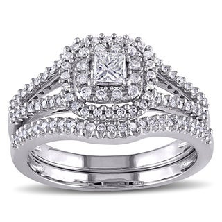 Miadora Signature Collection 14k White Gold 3/5ct TDW Certified Diamond Halo Bridal Ring Set