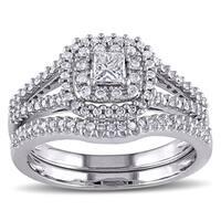 Miadora Signature Collection 14k White Gold 3/5ct TDW Certified Diamond Halo Bridal Ring Set