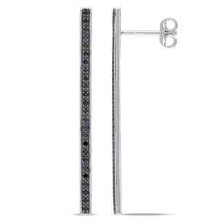 Miadora Sterling Silver 1/4ct TDW Black Diamond Linear Stick Ear Pin Earrings