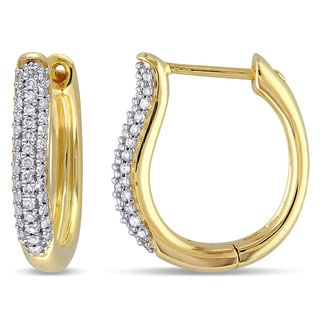 Miadora 10k Yellow Gold 1/3ct TDW Diamond Hoop Earrings