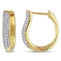Miadora 10k Yellow Gold 1/3ct TDW Diamond Hoop Earrings