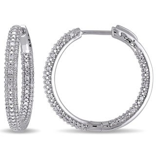 Miadora 10k White Gold 1/3ct TDW Diamond Hoop Earrings