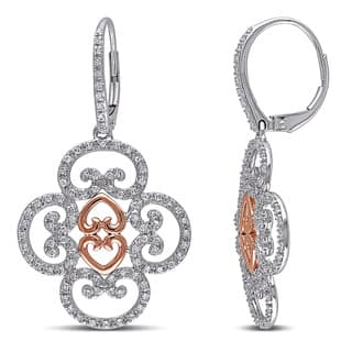 Miadora 14k Two-tone White and Rose Gold 3/4ct TDW Diamond Dangle Earrings|https://ak1.ostkcdn.com/images/products/10136676/P17274017.jpg?impolicy=medium