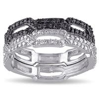 Miadora Sterling Silver 1/6ct TDW Black and White Diamond 2-Piece Stackable Ring Set