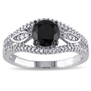 Miadora 10k White Gold 1 1/4ct TDW Black and White Diamond Ring