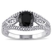 Miadora 10k White Gold 1 1/4ct TDW Black and White Diamond Ring