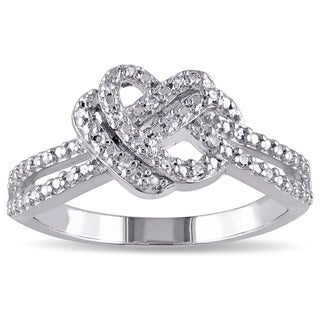 Miadora Sterling Silver 1/10ct TDW Diamond Double Heart Knot Ring