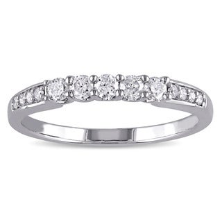 Miadora 10k White Gold 1/3ct TDW Diamond Anniversary-style Stackable Wedding Band