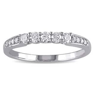 Miadora 10k White Gold 1/3ct TDW Diamond Anniversary-style Stackable Wedding Band|https://ak1.ostkcdn.com/images/products/10136683/P17274023.jpg?impolicy=medium
