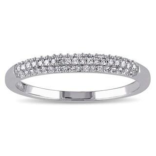 Miadora 14k White Gold 1/6ct TDW Diamond Wedding Band