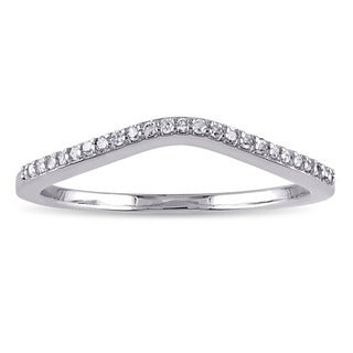 Miadora 10k White Gold 1/10ct TDW Diamond Contour Stackable Anniversary-style Wedding Band Ring