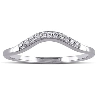 miadora 14k white gold 16ct tdw diamond contour anniversary style stackable wedding band - Wedding And Engagement Rings