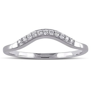 Miadora 14k White Gold 1/6ct TDW Diamond Contour Anniversary-style Stackable Wedding Band