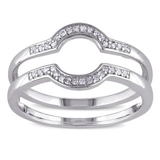 Miadora Sterling Silver 1/10ct TDW Diamond Contour Stackable 2-piece Wedding Band Set