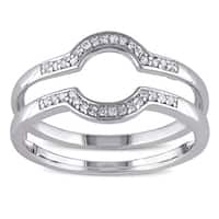 Miadora Sterling Silver 1/10ct TDW Diamond Contour Stackable 2-piece Wedding Band Set - White