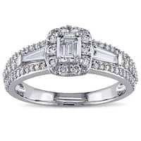 Miadora Signature Collection 14k White Gold 1ct TDW Emerald-cut Diamond Ring