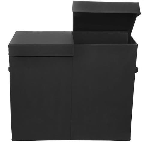 Smarty Pants Solid Black Folding Double Laundry Basket