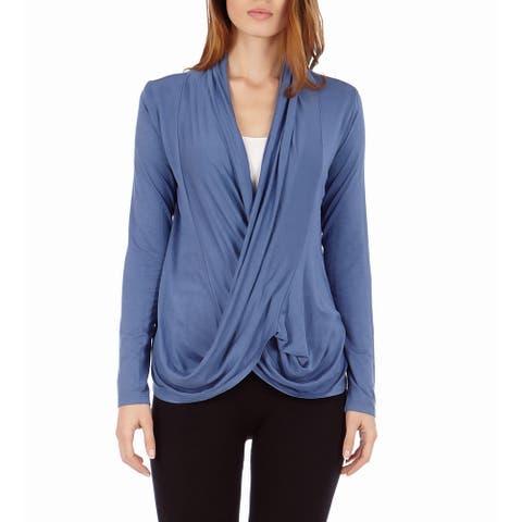 Women's Criss-cross Drape Front Pullover Cardigan