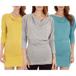 Women's Mustard/ Grey/ Blue Knit Long Sleeve Casual Tunic Dress (Pack of 3)