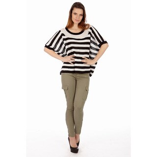Women's Pointelle Knit Stripe Sparkle Sweater