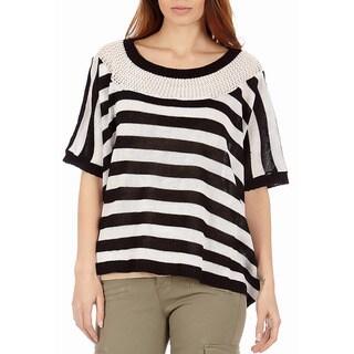 Women's Pointelle Knit Stripe Sparkle Sweater
