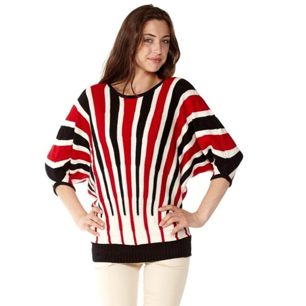 Shop Juniors Stripe Knit Pullover Sweater On Sale Free Shipping