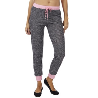 Women's Heather French Terry Bright Color Waistband Jogger Pants