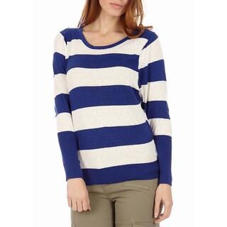 Juniors' Stripe Cotton Knit Pointelle Sweater