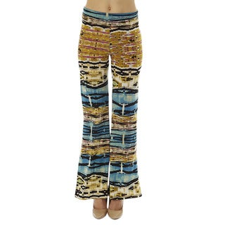 Women's Printed High Waisted Print Foldover Wide Leg Palazzo Pants