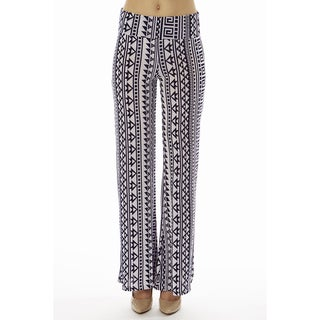 Women's Printed High Waisted Greek Sync Print Foldover Wide Leg Palazzo Pants
