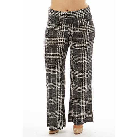 Women's Printed High Waisted Plaid Print Foldover Wide Leg Palazzo Pants