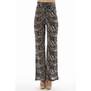 Women's Printed High Waist Paisley Swirl Print Foldover Wide Leg Palazzo Pants