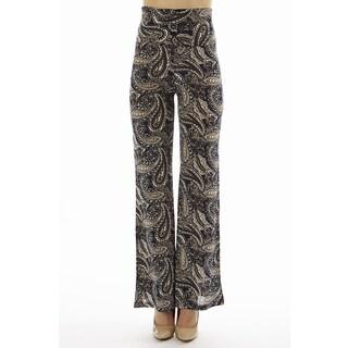Women's Printed High Waist Paisley Swirl Print Foldover Wide Leg Palazzo Pants (3 options available)