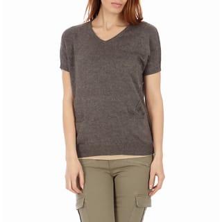 Juniors' Knit Pointelle Short Sleeve V-Neck Sweater|https://ak1.ostkcdn.com/images/products/10136742/P17274075.jpg?impolicy=medium