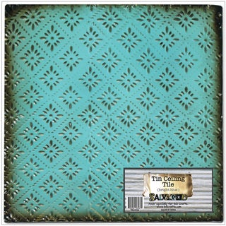 Salvaged Tin Ceiling TileBright Blue Rosette