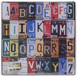Salvaged Licenses Plate Metal Collage Alphabet Letters