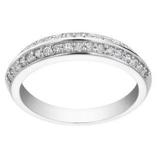 SummerRose 14k White Gold 3/8ct TDW Diamond Two-row Prong-set Ring (H-I, SI1-SI2)