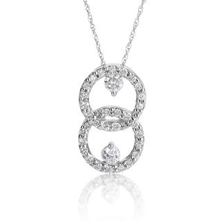 SummerRose 14k White Gold 1/2ct TDW Diamond Interlock Necklace