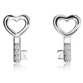 SummerRose 14k White Gold Diamond Accent Heart and Key Stud Earrings ( H-I, SI1-SI2)