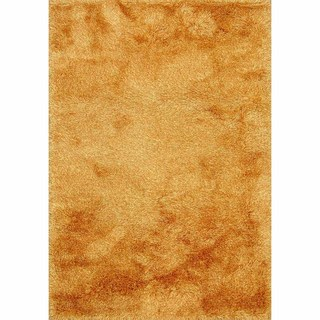 Lyric Tangerine Orange Hand Knotted Shag Rug (India)