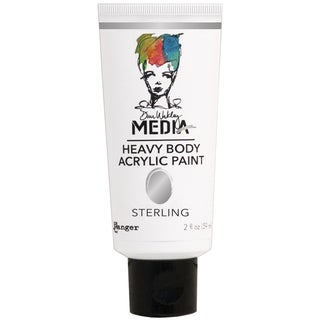 Dina Wakley Media Heavy Body 2oz Metallic Acrylic PaintsSterling