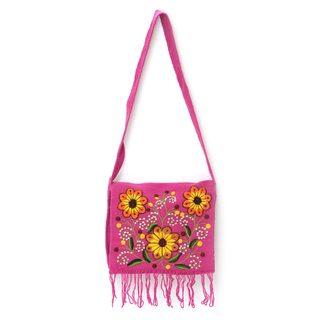 Handmade Wool 'Sunflower Sisters' Shoulder Bag (Peru)