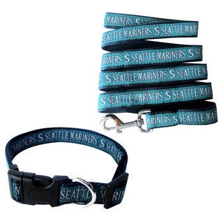Genuine 2-piece MLB Seattle Mariners Licensed Pet Collar and Leash Combo Set