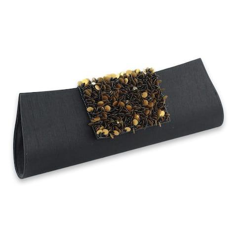Handmade Beaded 'Midnight Radiance' Clutch Handbag (India)