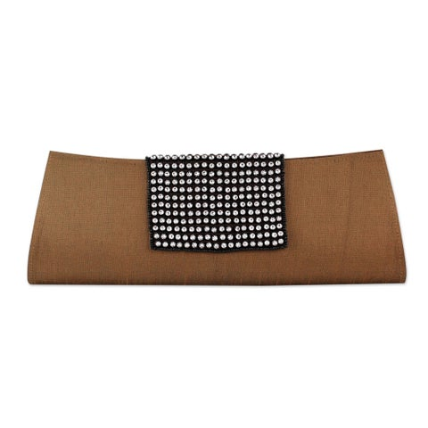 Handmade Beaded 'Golden Allure' Clutch Handbag (India)