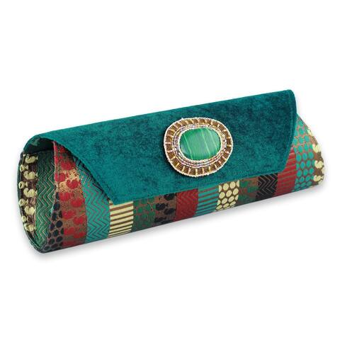 Handmade Beaded 'Glamorous Turquoise' Clutch Handbag (India)