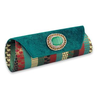 Handmade Beaded 'Glamorous Turquoise' Clutch Handbag (India)